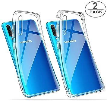 ivencase [2 Pack Funda Samsung Galaxy A50 Transparente, Ultra Fina Silicona Transparente TPU Carcasa Protector Airbag Anti-Choque Anti-arañazos ...
