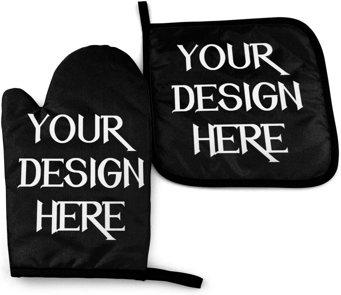 Achujuyou Personalized Oven Mitts and Pot Holders Sets, Customized Non-Slip Kitchen Mitten Design Your Own Advanced Heat Resistance Cooking Gloves