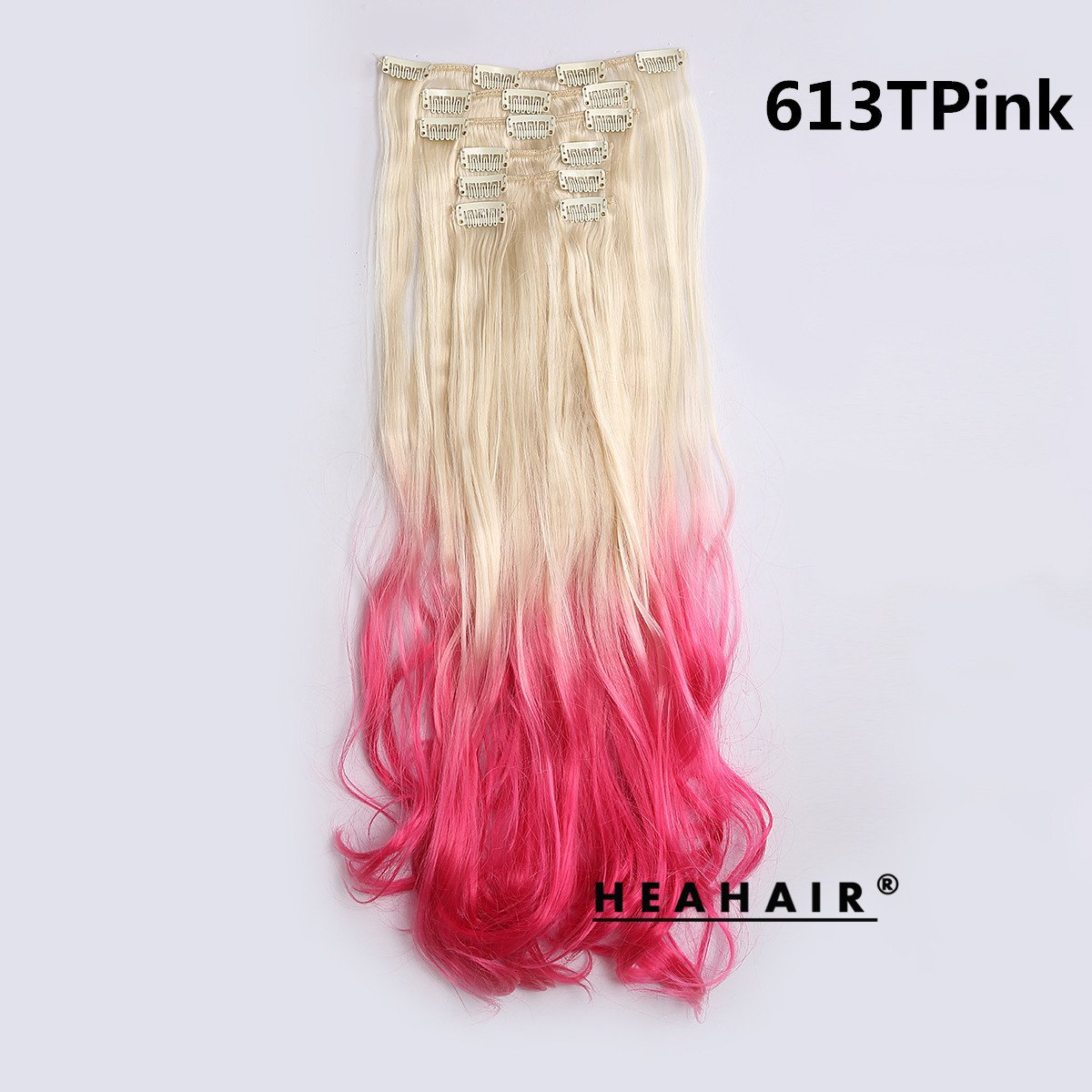 Amazon heahair light blonde to 613t pink ombre synthetic amazon heahair light blonde to 613t pink ombre synthetic curly clip in hair extensions for cosplay beauty pmusecretfo Image collections