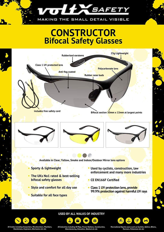 Gafas de Seguridad de Lectura BIFOCALES que cumplen con la certificaci/ón CE EN166F // Gafas para Ciclismo incluye cuerda de seguridad AHUMADO//GRIS dioptr/ía +1.0 Reading estuche de seguridad r/ígido con bisagras voltX CONSTRUCTOR
