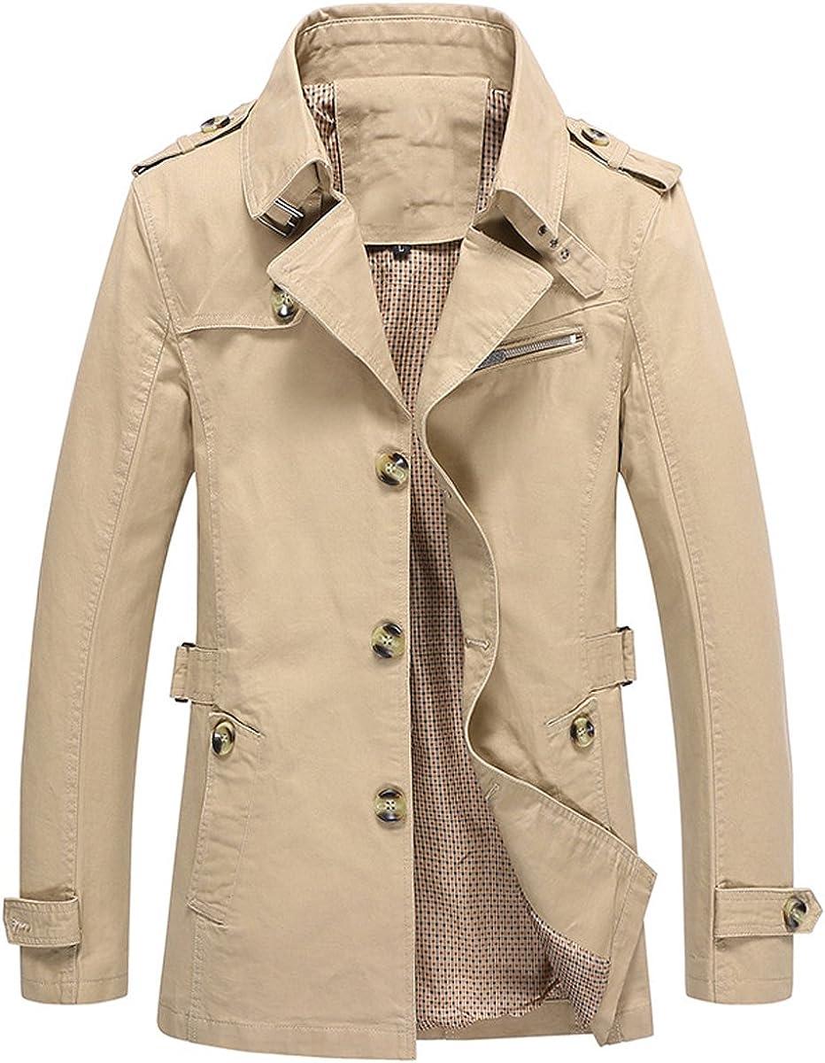 YOUTHUP Mens Hooded Coat Slim Fit Military Trench Coats Elegant Windbreaker Jacket