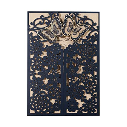 Wishmade 1 Sample Blue 3d Laser Cut Wedding Invitations With Envelopes And Rsvp Card Butterfly Floral Gate Design Blank Invites For Dinner Party