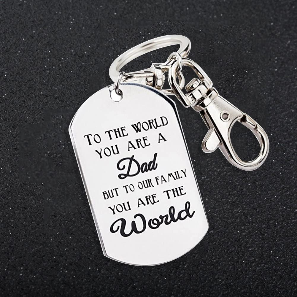 SpirWoRchlan Mens Keyring Letters Pendant Charm Car Keychain Key Ring Holder Ornament Dad Father Gift Present Fathers Day Birthday Gifts