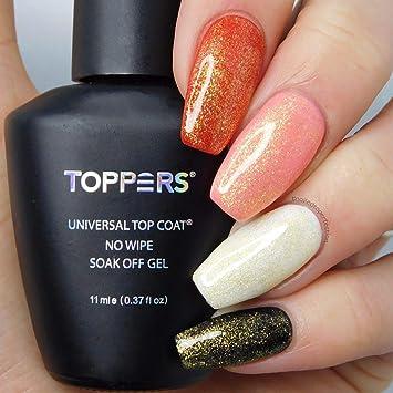 Toppers Fine Gold Gel Polish Top Coat, Sparkly Gold Glitter UV Gel ...