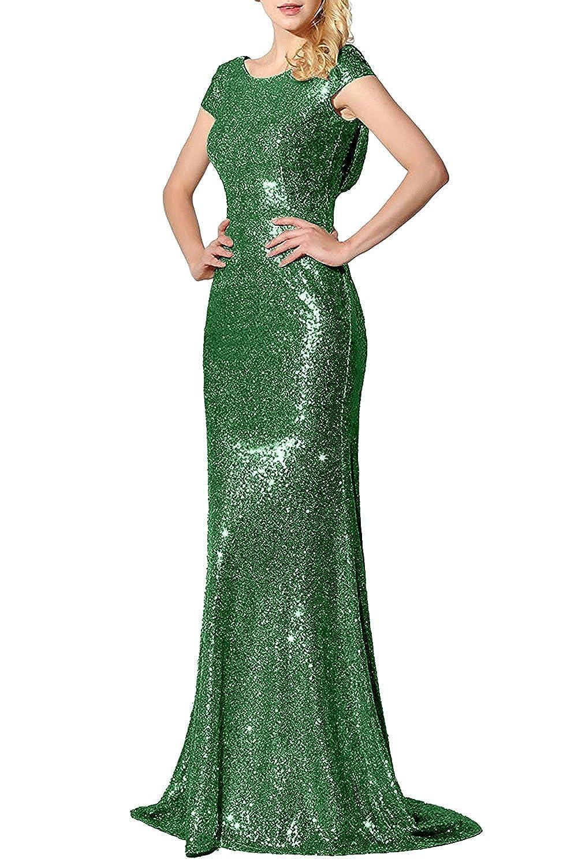 Green Promstar Women Elegant gold Sequins Bridesmaid Wedding Dresses Evening Gown