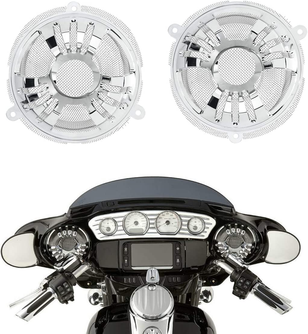 YHMTIVTU Motorcycle Front Speaker Trim Grill Cover For Harley Touring FLHTCU 2014-2019 CVO Limited Street Glide Special Chrome