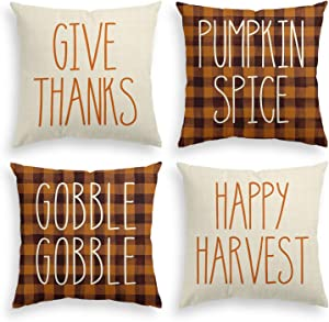 AVOIN Watercolor Buffalo Check Plaid Give Thanks Happy Harvest Throw Pillow Cover, 18 x 18 Inch Pumpkin Spice Gobble Gobble Fall Cushion Case Decoration for Sofa Couch Set of 4