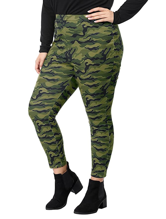 abe9f7b9cde41 uxcell Women's Plus Size Elastic Waist Stretch Camouflage Leggings 1X Green  at Amazon Women's Clothing store: