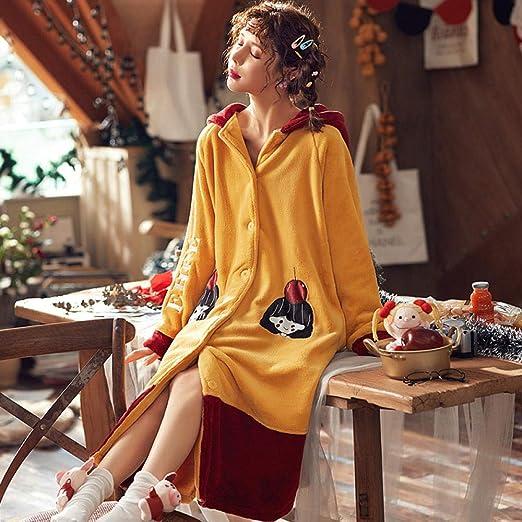 TT Pijama de Albornoz 100% algodón para Mujer, Engrosamiento de otoño e Invierno, cómodo y Largo camisón largo-175 (XL) _VS: Amazon.es: Hogar
