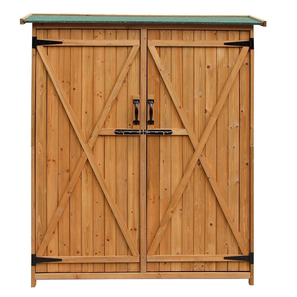 "64"" Garden Storage Shed, Fir 100% Wooden Shed with Natural Wood Color, Fashionable Design with Double Doors Lockable Cabinet, Durable & Suitable for Storage"