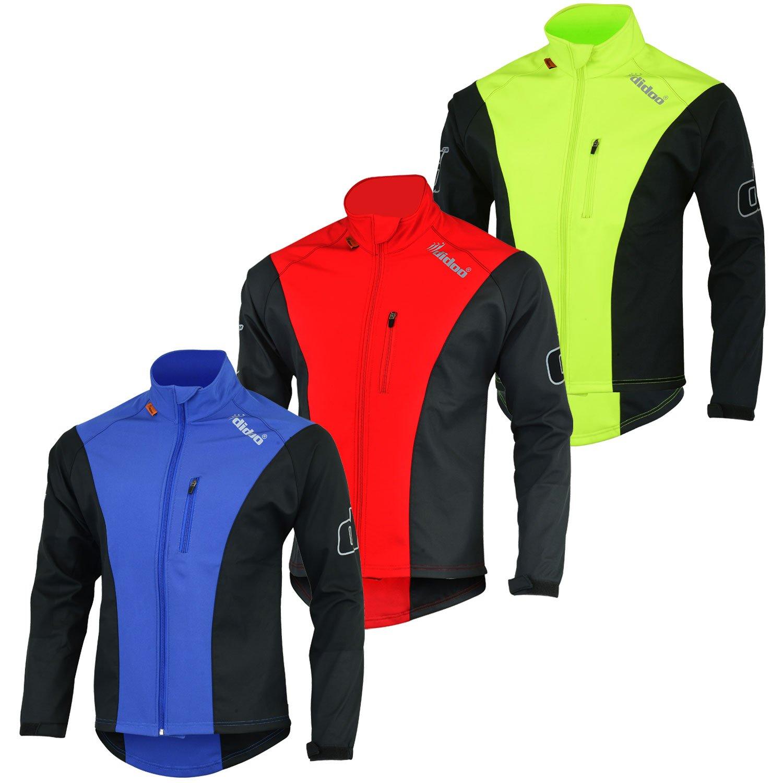 didoo Men's Motorbike Softshell Water Resistant Jackets Wind Proof Cycling Outer Wear Blue - XXL