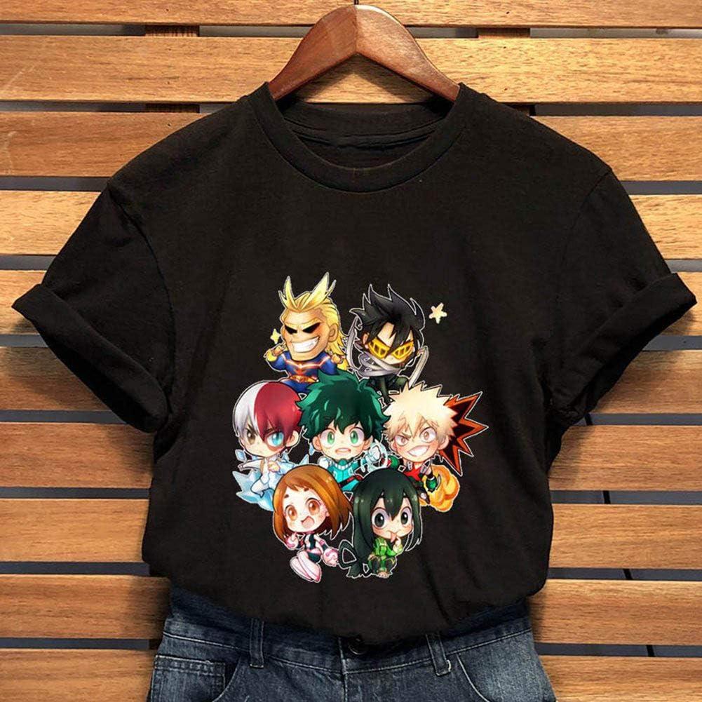 Elibeauty Lunanana My Hero Academia T-shirt /à manches courtes pour femme et fille