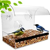 Window Bird Feeder - Bird Feeders For Outside - Acrylic Bird Feeder Window - Wild Bird Feeder - Modern Bird Feeder With See Through Bird Feeder – Best Gifts For Bird Lovers Women and Elderly Mother