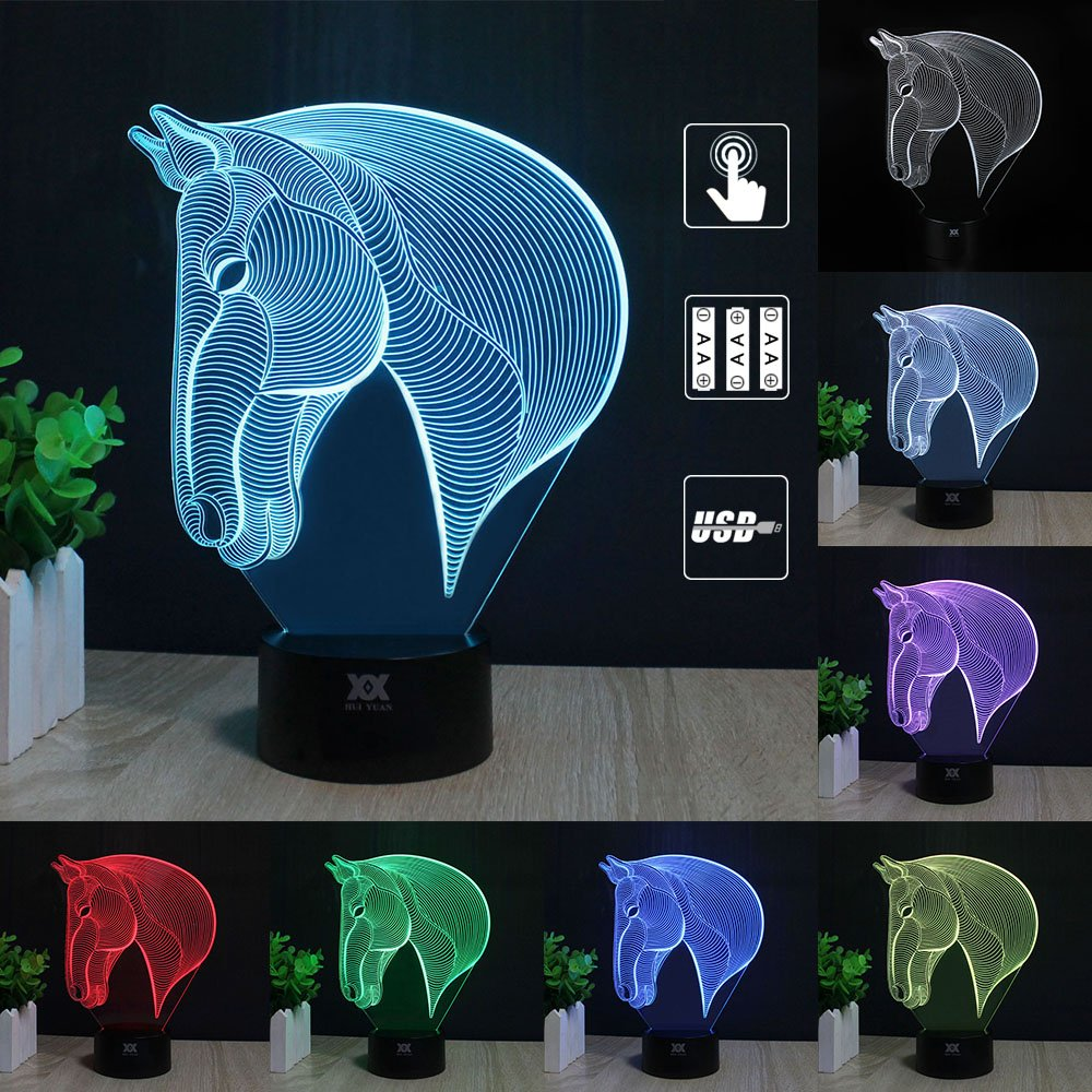 3D Illusion Animal Horse Head LED Desk Table Night Light Lamp 7 Color Touch Lamp Kiddie Kids Children Family Holiday Gift Home Office Childrenroom Theme Decoration by HUI YUAN (Touch)