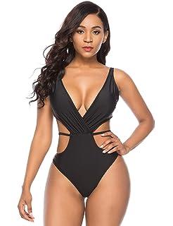 f2100fb4a80 Vibesicily Deep V One Piece Swimsuit, Sexy Cutout Swimwear High Waisted Swimsuit  Monokini Bathing Suits