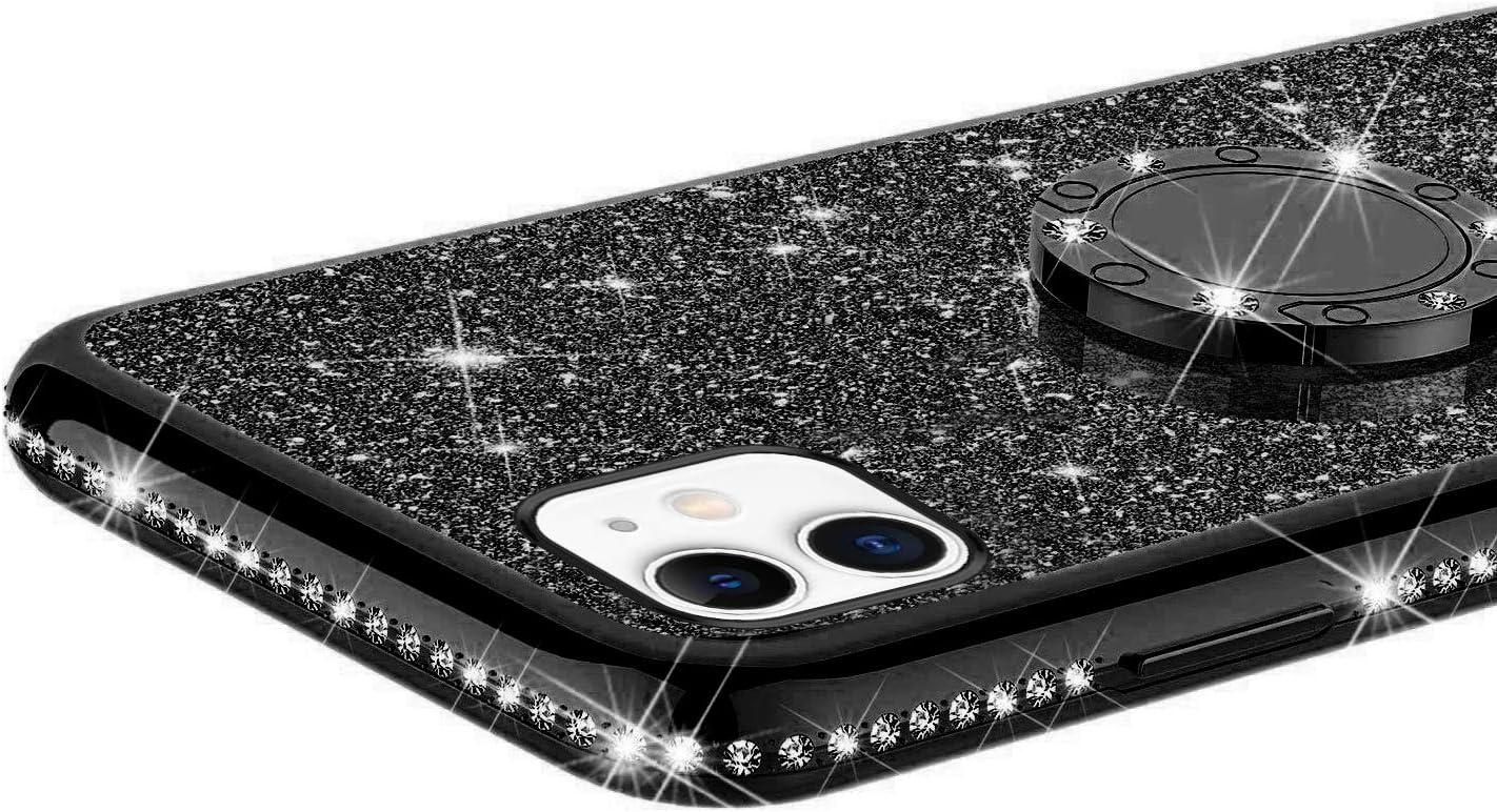 YSIMEE Compatibile con Cover iPhone 11,Custodie Brillantini Glitter Scintillio Diamante Rinforzato Placcatura TPU 360 Anello Silicone Morbida Ultra Sottile Antiurto Gel Case,Argento