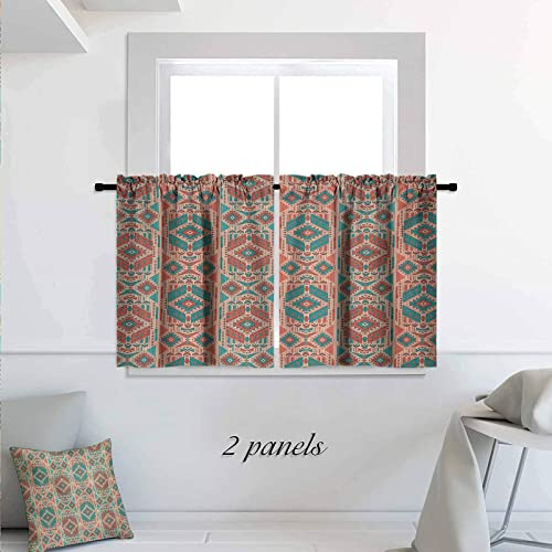 Mexican Short Curtain Vintage Pastel Toned Geometric Composition American Motifs Room Darkening Kitchen Tier Window Treatment 2 Panels 42 x 24 inch Pale Sea Green Coral Dark Coral