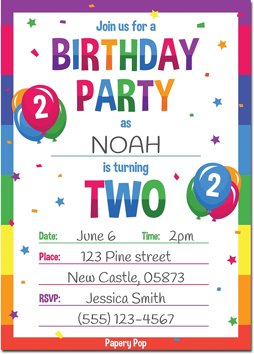 Amazon.com: 2nd Birthday Party Invitations with Envelopes (15 Count ...