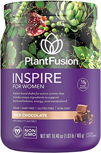 PlantFusion Inspire Women Protein Powder Plant Based Vegan Protein Supplement Balances Stress Female Hormones Supports Metabolism