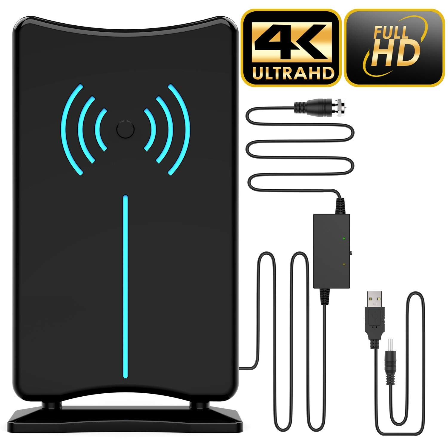 [Updated 2020 Version] Professional 150 Miles Amplified HD Digital TV Antenna, USA Patented Design, Support 4K 1080p…