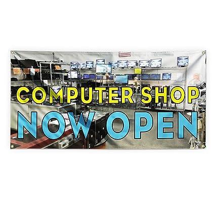 Amazon com : Computer Shop Now Open Outdoor Advertising Printing