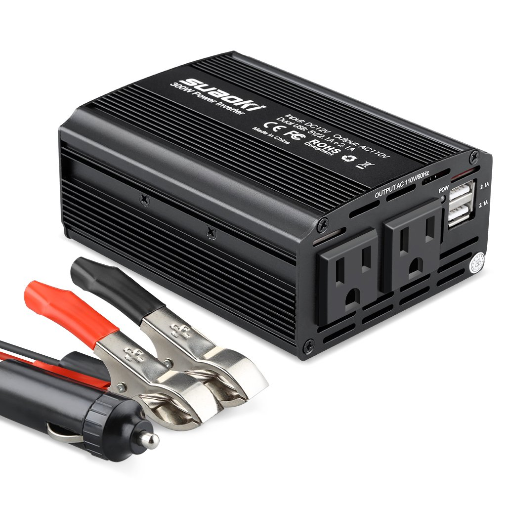 SUAOKI Power Inverter 300W DC 12V to 110V AC Car Converter with 4.2A Dual USB Car Adapter and 2 AC Outlets DM300SA1