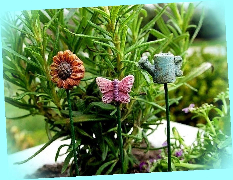 New Garden Stake w 5 inch Pick Set 3 Fairy Garden Miniature Gnome Dollhouse Magic Scene Supplies Accessories Dia-#0133N