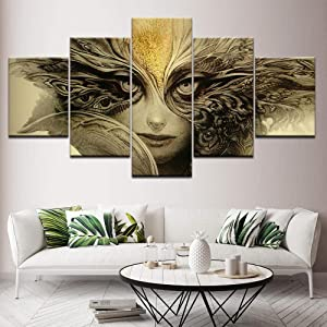 Luck7 5 Pieces Wall Art Dark Horror Fantasy face Eyes Demon Painting on Canvas Stretched and Framed Canvas Paintings Ready to Hang for Home Decorations Wall Decor-100x55cm