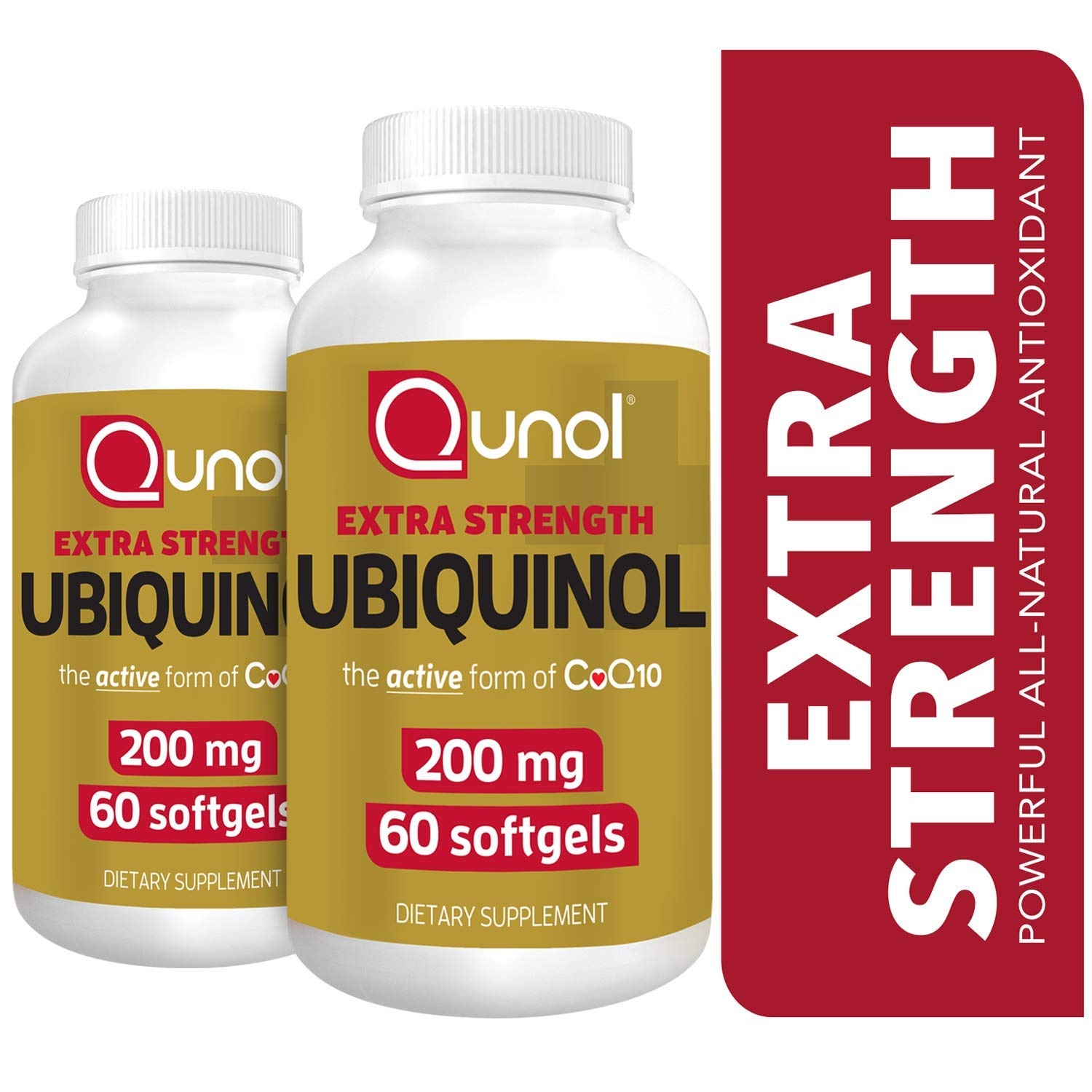 Qunol Ubiquinol 200mg, Powerful Antioxidant for Heart and Vascular Health, Essential for Energy Production, Natural Supplement Active Form of CoQ10, 60 Count Twin Pack by Qunol