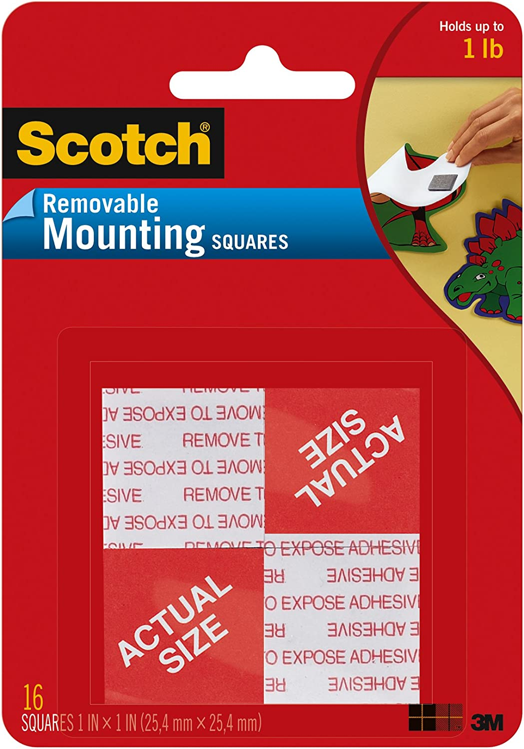 "Scotch Mounting, Fastening & Surface Protection 108 REMOVABLE MOUNTNG 1X1IN. 16PC, 1"", White, 16 Count: Home Improvement"