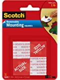 Scotch 108 Removable Mounting Squares 2.5cm x 2.5cm (Pack of 16),Grey