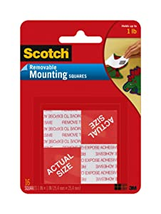 "3M 108 Scotch Removable Mounting Squares, 1"" x 1"", White"