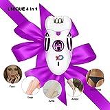[4 In 1]Women's Epilator,Bikini Trimmer Shaver,Electric Face Hair Removal,Multi-Functional Kit,Ladies Razor Rechargeable for Leg Arm Armpit Bikini Line Callus - Christmas Gifts
