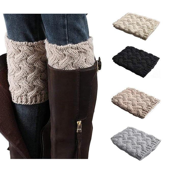 9b342f27c9c Bestjybt Womens Short Boots Socks Crochet Knitted Boot Cuffs Leg Warmers  Socks (4 Pairs-