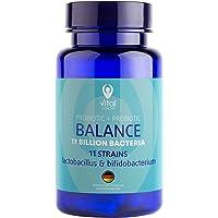 BALANCE - Probiotique et Prebiotique, 11 souches, 17 milliards de CFU, Lactobacillus et Bifidobacterium. Équilibre des bactéries et flore intestinales. Ventre équilibré. Contribue à l'absorption des graisses, des protéines et des minéraux. Élimine la constipation persévérante et l'indigestion. 60 comprimés pilules, ne contient pas de gluten et OGM.