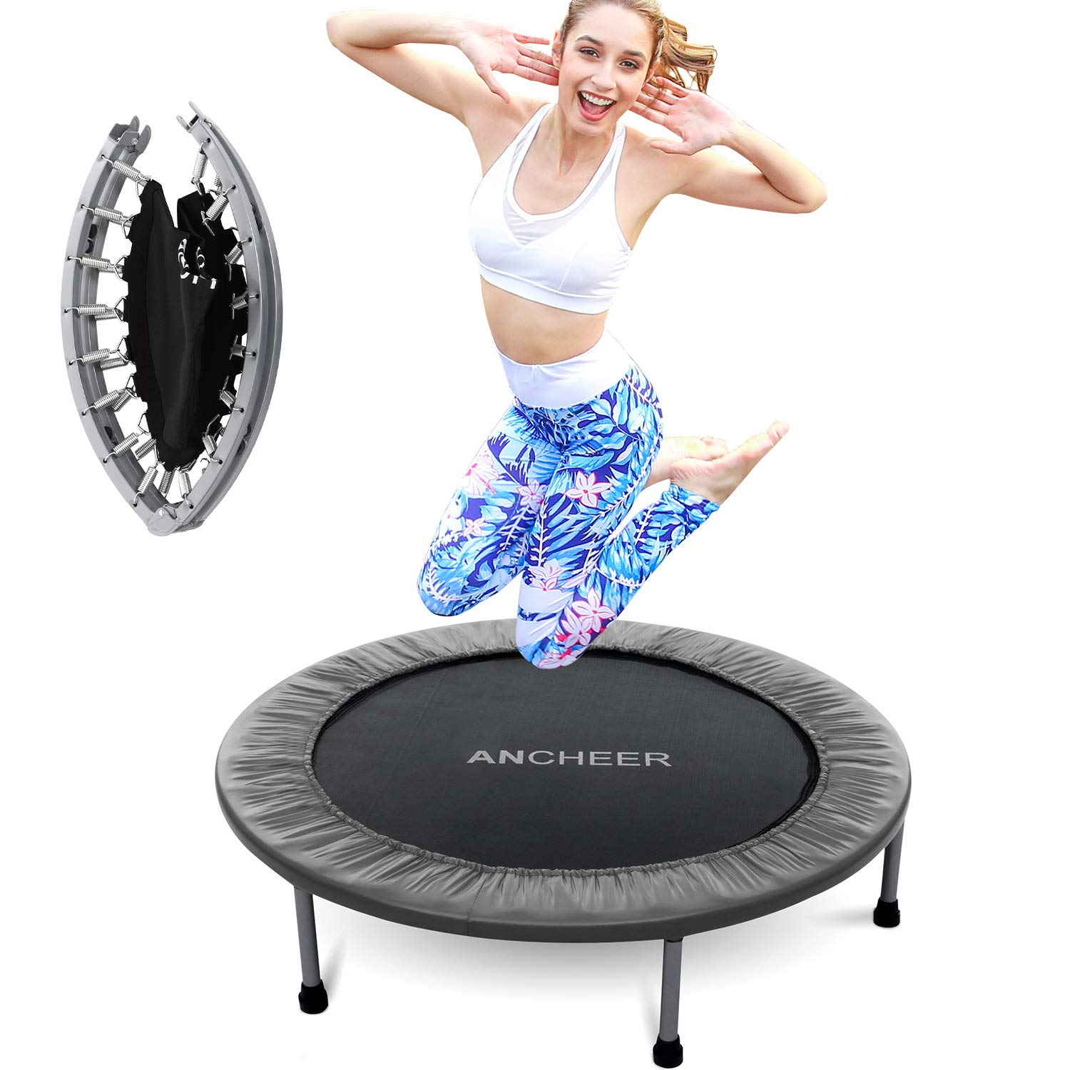 ANCHEER Mini Trampoline with Safety Pad, 220lbs Weight Capacity Fitness Rebounder Trampolines for Home Gym Office Garden Workout Cardio Training Equipment (Gray, 40inch-Folding one time) by ANCHEER (Image #6)