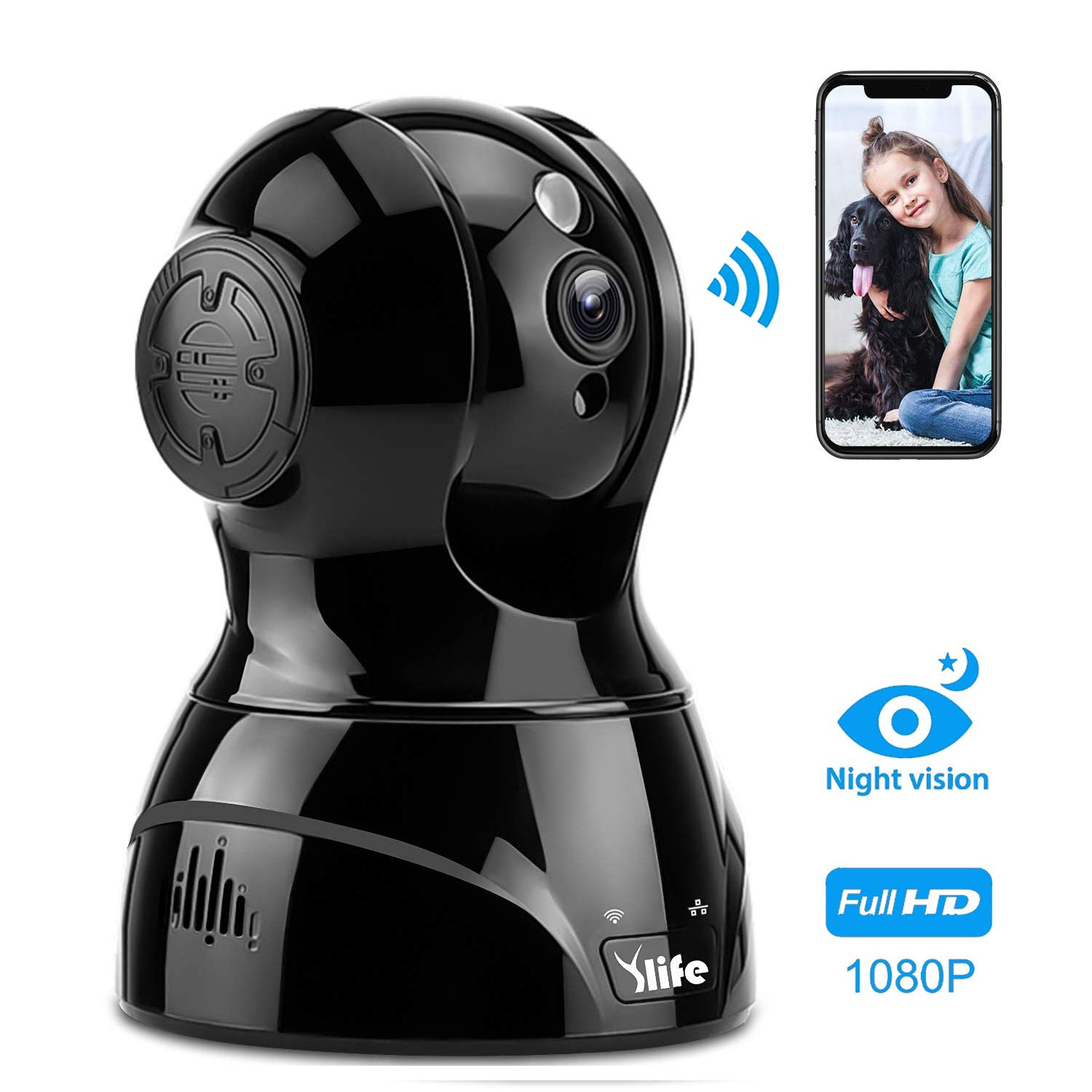 Ylife WiFi Wireless Security Camera, 1080P HD IP Camera Works with Alexa, Pan/Tilt/Zoom Video Baby Pet Monitor Camera with Two Way Audio, Night Vision, Motion Detection, Indoor Home Dome Surveillance by Ylife