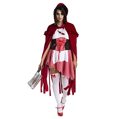 Womens Little Red Riding Hood Zombie Costume Sexy Fairytale Female Adults  Outfit 274d66f587
