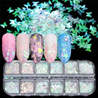 12 Boxes Holographic Iridescent Nail Sequins Mermaid Colorful Flakes Nail Art Sticker Glitter Make Up for Face Body Eyes