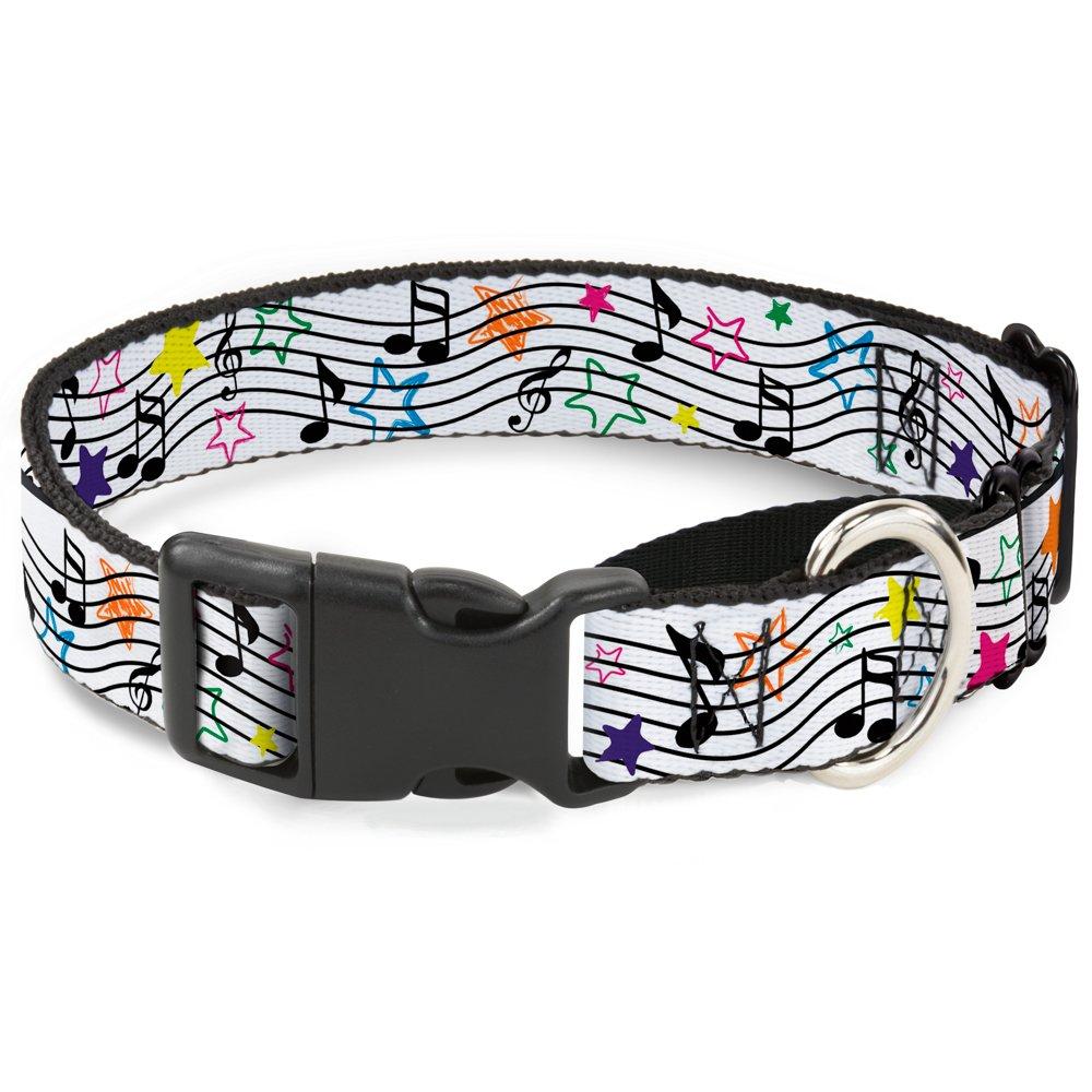 Buckle-Down MGC-W31328-M Music Notes Stars White Black Multicolor Martingale Dog Collar, Medium
