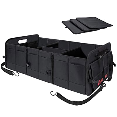 Autoark Multipurpose Car SUV Trunk Organizer,Durable Collapsible Adjustable Compartments Cargo Storage,Upgraded Handle,AK-072