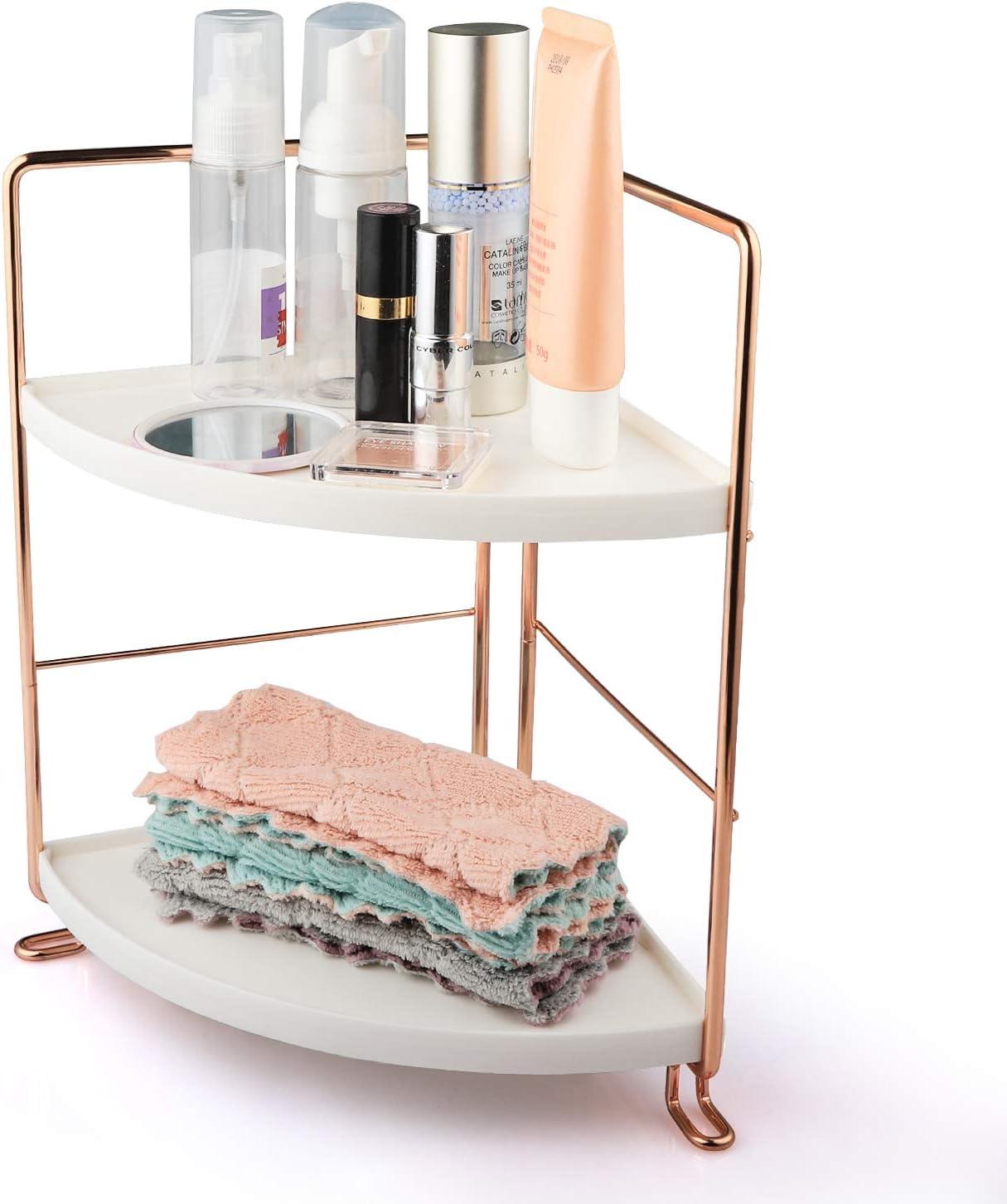 VEEMOS 2-Tier Corner Counter Shelf Bathroom Countertop Organizer Vanity Tray for Cosmetic Storage Standing Skincare Organizer Spice Rack (Rose Gold)