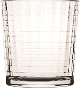 Circleware 40111 Matrix Set of 4 Heavy Base Whiskey Glasses 12.5 oz, Beverage Drinking Glassware Cups for Water, Liquor, Cocktails, Beer, Ice Tea, Juice and Bar Decor, 4pc DOF, Windowpane