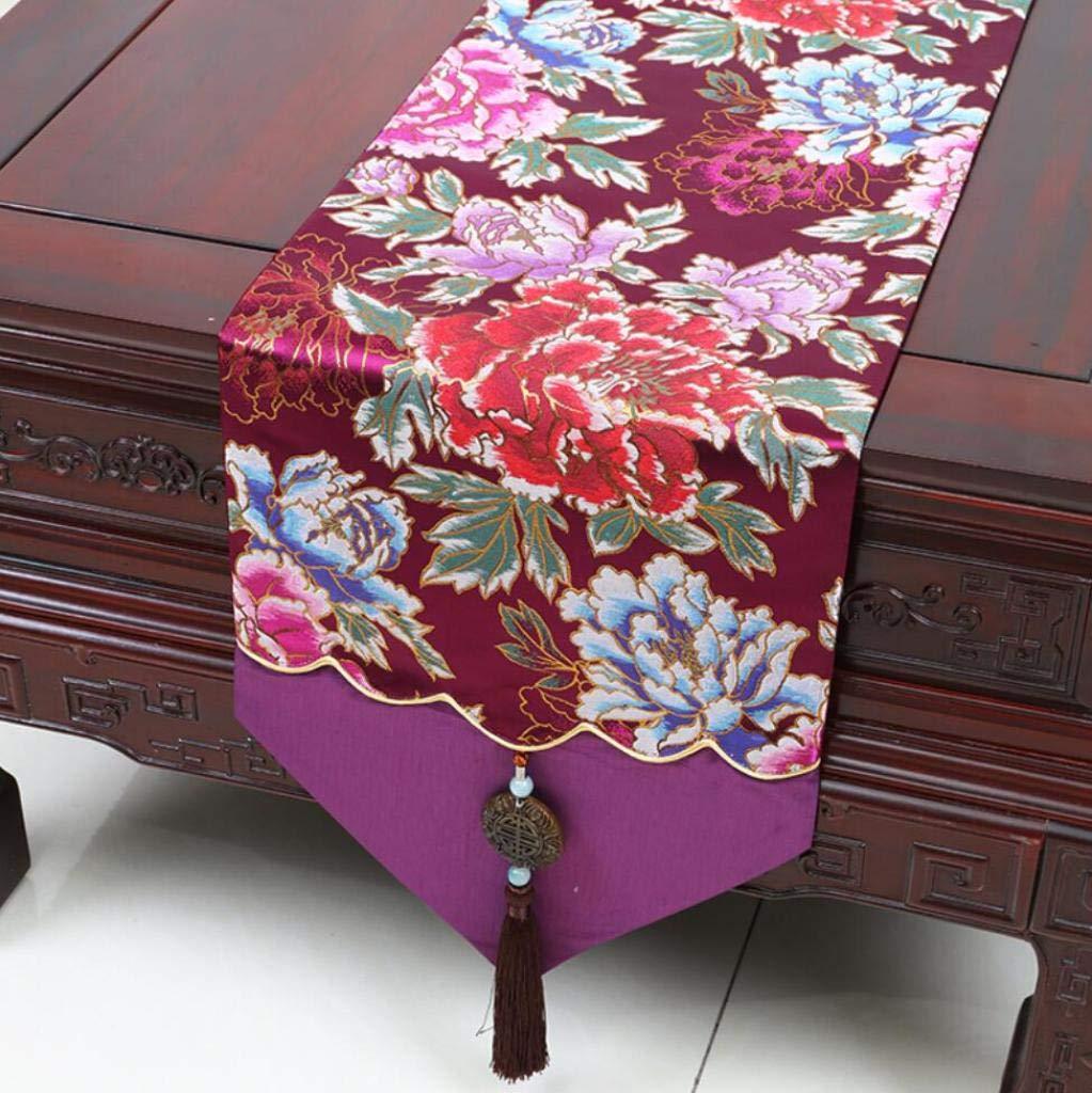 テーブルランナーシルク素材13x90インチ中国の古典的なパターン、ダイニング、パーティー、ウェディング、コーヒー、ホームデコレーション,A_33*230cm 33*230cm A B07HDR9QR2
