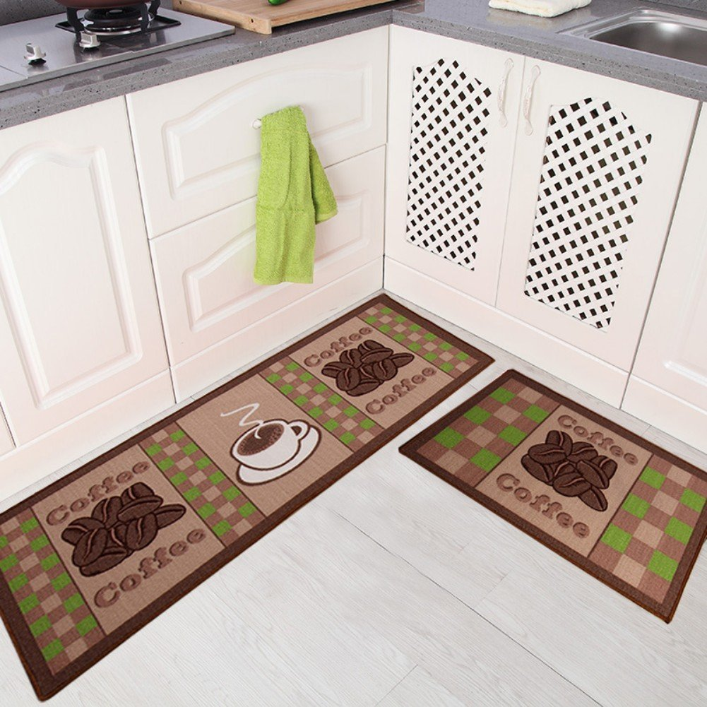 Seamersey Home and Kitchen Rugs 2 Pieces 4 Size Decorative Non-Slip Rubber Backing Doormat Runner Area Mats Sets COMINHKPR151632