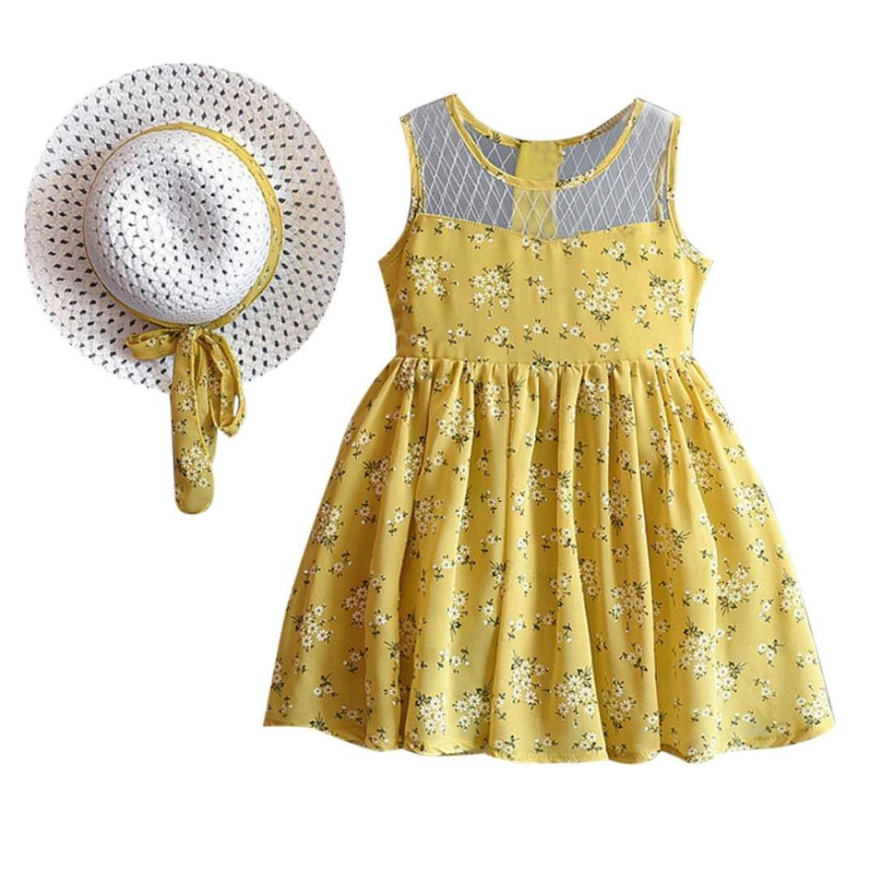Vovotrade 2PCS Baby Girl Outfit Clothes Chiffon Floral Vest Dress+Sun Hat Set