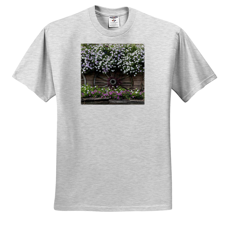 Scenics ts/_314458 3dRose Danita Delimont Flowers and Wagon Wheels - Adult T-Shirt XL