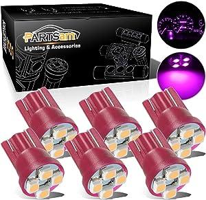 Partsam T10 194 LED Light Bulb 168 LED Bulbs Bright Instrument Panel Gauge Cluster Dashboard LED Lights Bulbs Set – Pink Purple 6Pcs