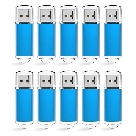 KEXIN 10 Stück USB Stick 2GB USB 2.0 Speicherstick USB Memory Flash Drive (2GB*10PCS, Blau)