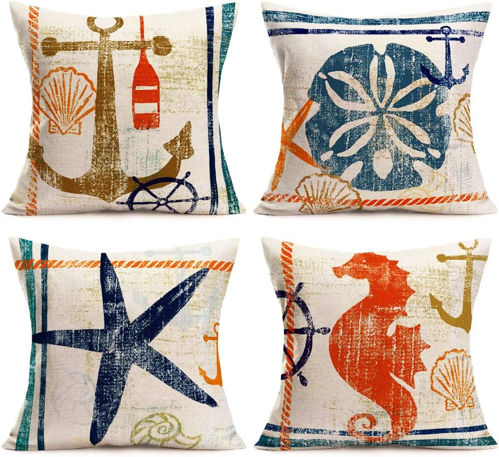Aremetop Set of 4 Throw Pillow Covers Nautical Coastal Ocean Anchor Rudder with Marine Animal Decorative Pillow Case Home Decor Square 18''x18'' Cotton Linen Cushion Cover,Sea Horse,Starfish,Jellyfish